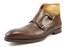 Magnanni Mens Shoes Size 11 Valerio Leather Monk Strap Ankle Boots Brown