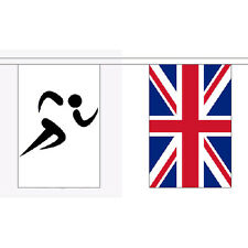 Sports & Uk Bunting 9M Long - 30 Flags Olympic Sporting Race British Decoration
