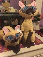 LADY AND THE TRAMP Plush Siamese Cats SI & AM Disney Store Stuffed Animal