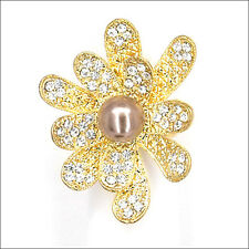 Daisy Flowers Cocktail Rings Crystal Costume Jewelry Clear 3D Bronze Pearl Gold