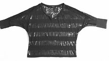 Rock & Roll Cowgirl SEQUIN Lace STRIPED/Burnout Shirt Cropped Top SZ SMALL  S
