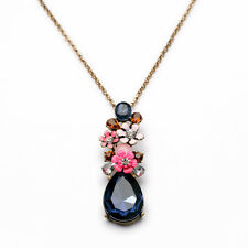 Exquiste Anthropolo​​gie Monroe Pink Flower Blue Gemmed Long Necklace