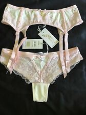 AUTHENTIC PLAYBOY CRYSTALIZE BRAZILIAN BRIEF AND SUSPENDERS SET SIZE 8