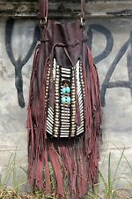 fringed leather bag boho style, antique brown leather purse, gypsy fringe bag