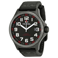 TW Steel Men's Pilot Black Dial Black Leather Watch TW420