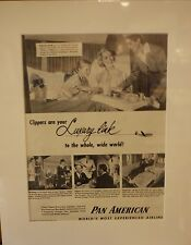 Original Vintage Advert mounted ready to frame Pam American Giant Clipper 1951