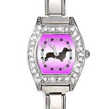 Dachshund Dog CZ Womens Stainless Steel Italian Charms Bracelet Watch BJ1064