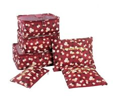 NEW! 6-PIECE TRAVEL/ LUGGAGE STORAGE ORGANIZER/ POUCH (WINE FLORAL)