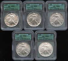 87, 94, 03-05 American 1oz .999 Silver Eagle 5 Coin Set!-All ICG Certified MS-69