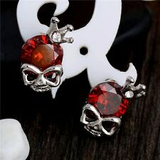 Skull & Crown Red Cubic Zirconia Heart White Gold Plated Stud Earrings