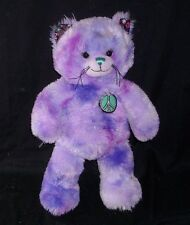 BUILD A BEAR PURPLE BFF GREEN PEACE SIGN KITTY CAT STUFFED ANIMAL PLUSH TOY BABW