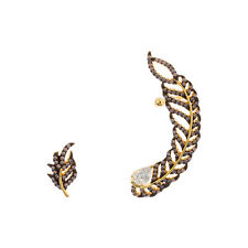 14K Y VERMEIL-TearDrop CZ + Genuine Rose Opal Feather Ear Crawler Earrings/925