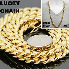 "30""STAINLESS STEEL GOLD MIAMI CUBAN LINK CHAIN NECKLACE 11mm 201g PC1"