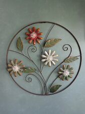 LARGE FLORAL METAL ART WALL SCRULPTURE HOME DECOR 3-D ROUND OPEN FRAME 22""
