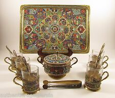 Antique Cloisonne Persian Enamel Silver Tea Set Gilt Cup Bowl Tray Spoon & tongs