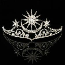 Queen Wedding Crown Crystal Rhinestone Prom Pegeant Tiara Bridal Star Headband