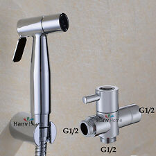 "Stainless Steel Bidet Sprayer spray Douche Shattaf kit +G1/2""Brass T-adapter"