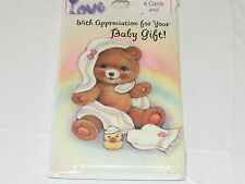"Love 1 packs of 6 Thank you ""with Apprecitation for Your Baby Gift"" baby cards#"