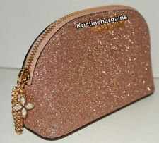 NWT Michael Kors Alex Jet Set Travel Medium Glittered-Lether Pouch Cosmetic Case