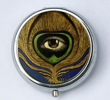 Peacock Feather Eye vintage illustration PILL case box pillbox holder