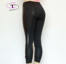 NWT VICTORIA'S SECRET PINK YOGA FAUX LEATHER LEGGINGS  MEDIUM  1122C