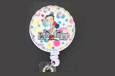 Dots BETTY BOOP Retractable ID Badge Reel/Keychain Key Ring Card Holder Hearts