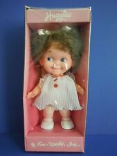 "RARE ! 1970'S FUN WORLD HUGGLES  BIG EYES DOLL "" SMILING & HAPPY BRUNETTE DOLL """