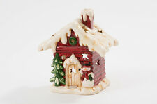 Large Glazed Ceramic Christmas Grotto House Snowman Tea Light Candle Holder 6834
