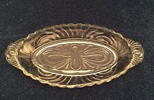 """Vintage Glass Oval Small Serving Dish, 10.5 x 5 1/3"""" Pattern on back"""