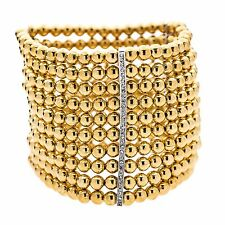 Kenneth Jay Lane 10 row wide gold beads crystals bars stretch bracelet 8687B