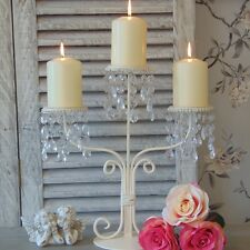 Cream Candle Holder Candelabra Dining Table Wedding Shabby French Chic Crystal