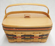 Longaberger Cake Basket with Lid and Swing Handles Red & Blue Accent 1997