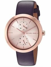 "Michael Kors Mk2575 ""Garner"" Rose-Gold-Dial Plum-Leather Watch"