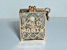 VINTAGE 14K YELLOW GOLD EMERGENCY MAD MONEY PURSE PENDANT CHARM opens