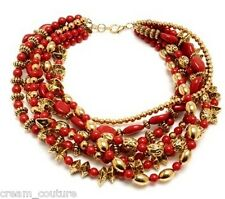 NEW Amrita Singh Ruby Red Multi-Strand Chalchi Aztec Necklace Chunky MSRP $250 N