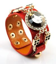 Women Genuine Leather Wide Bracelet Crystal Bangle Snap Cuff Fashion Wristband