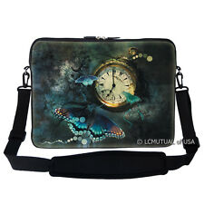 "17.3"" Laptop Computer Sleeve Case Bag w Handle & Shoulder Strap Butterfly Clock"