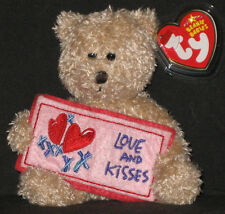 TY LOVE and KISSES the BEAR BEANIE BABY - (GREETINGS) - MINT with MINT TAG