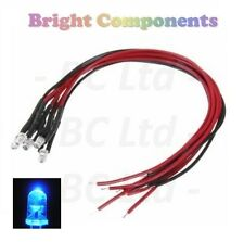 10 x Pre-Wired Blue LED 3mm Ultra Bright : 5V ~ 7V : 1st CLASS POST