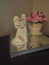 Vintage Bisque Wedding Cake Topper Bride and Groom with Pink Flowers