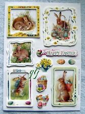EASTER - BUNNIES IN FRAMES - 3-D LAYERED HALLMARK SCRAPBOOKING STICKERS NWOP