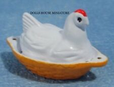 Chicken Shaped Egg Crock, Dolls House Miniature, Removable Lid.