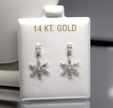 14K White Gold Snowflake With Cz Dangle Screw Back Stud Earrings