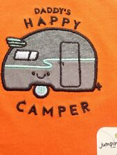 "NEW Baby Boy 6M One Piece Bodysuit ""DADDY'S HAPPY CAMPER"" Orange"