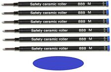 6 Pack - SCHMIDT 888 Safety Rollerball Ceramic Tip Pen Refills - Blue Medium