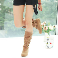 Womens Fashion Autumn Winter Slouchy Mid Calf Boots Lace Cuff Hidden Heel Shoes