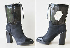 DIESEL see through plastic and denim chunky high heel rain boots Size 39 9 new