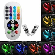 2x T10 RGB Colors Changing LED Lamp 12V 5050 Car Interior Light + Remote Control