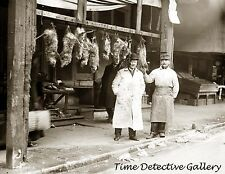 Opossums Hanging Outside Butcher Shop, New York City -c1915-Historic Photo Print