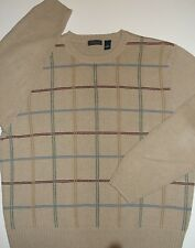 Saddlebred Knit Sweater ~TAN~Grid Pattern~Men's XL~100% Cotton-EUC~FREE Shipping